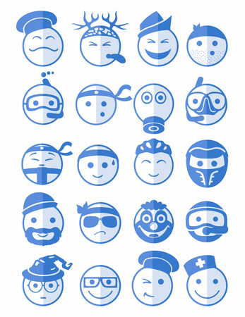 bespectacled man: 20 icons set profession smilies with different emotions in blue color on half face Illustration