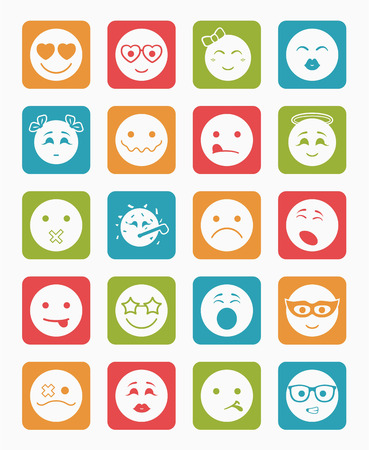 bespectacled man: 20 smiles icons set child girls and boys  in color square