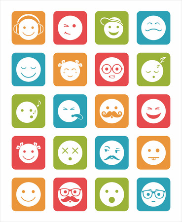 death cap: icons set 20 emotional and kids smiles in square without shadow