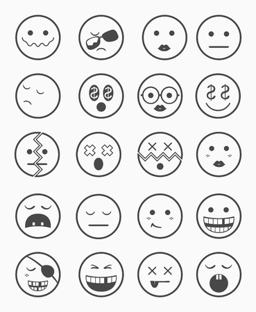 gold rush: 20 characters icons set 2 in black and white color