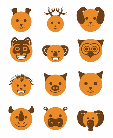 couleur orange: icon set 12 animals in orange color