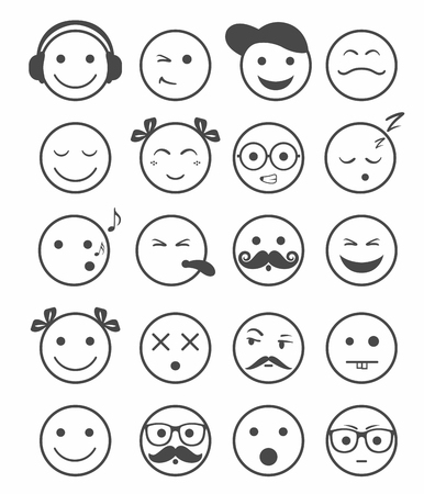 silly: icons set 20 emotional and kids smiles black and white color vector Illustration