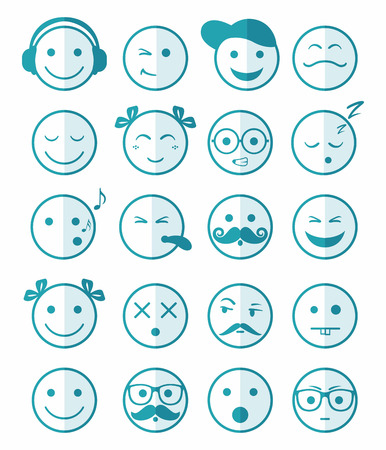 girl tongue: icons set 20 emotional and kids smiles in blue color of half face