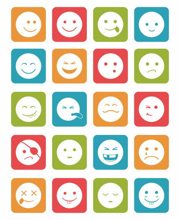 eye bandage: icons set 20 faces and characters  different in colors squares Illustration
