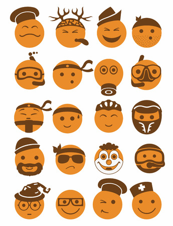 bespectacled man: 20 icons set profession smilies with different emotions in orange color Illustration