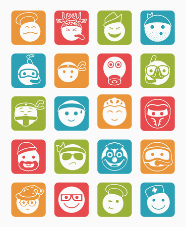 bespectacled man: 20 icons set profession smilies differents colors and emotions in square