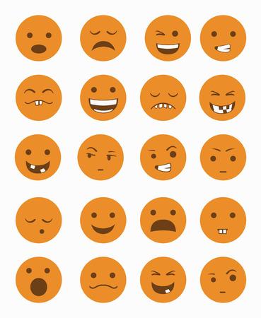 surprisingly: icons set 20 emotional smiles in orange color vector