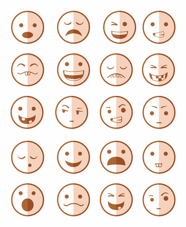 smile icon: icons set 20 emotional smiles in red on half face Illustration