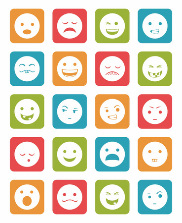 surprisingly: icons set 20 emotional smiles in square with differents colors Illustration