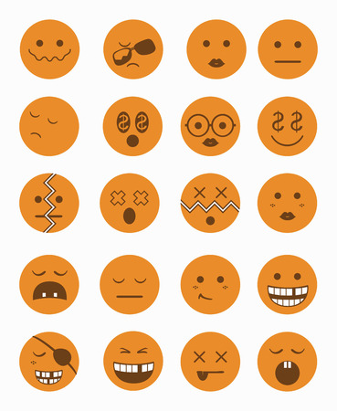 smile icon: 20 characters icons set 2 in orange color