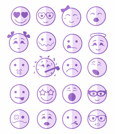 bespectacled man: 20 smiles icons set child girls and boys in purple color on half face