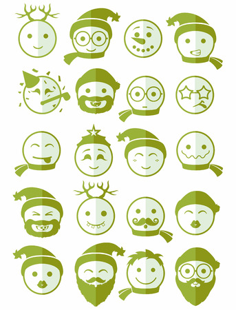 green face: icons set 20 smiles winter in green color on half face