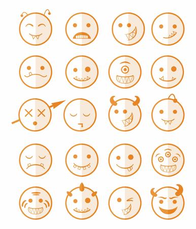 malevolent: 20 smiles vampires evil icons set in orange color on half face Illustration