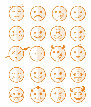 protruding eyes: 20 smiles vampires evil icons set in orange color on half face Illustration