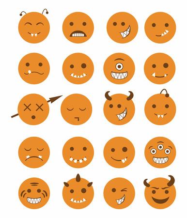 protruding eyes: 20 smiles vampires evil icons set in orange color