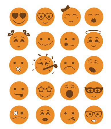 bespectacled man: 20 smiles icons set child girls and boys in orange color