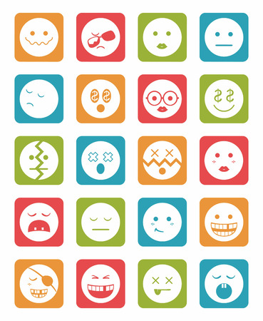 20 characters differents in color square icons set 2