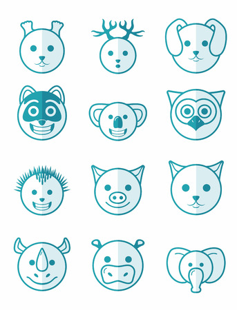 half face: icon set 12 animals in blue color on half face Illustration