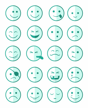 green face: icons set 20 faces and characters in green color on half face Illustration