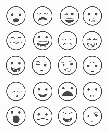 smile ball: icons set 20 emotional smiles black and white color vector