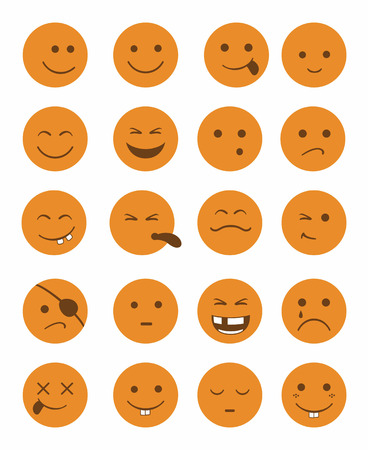 eye bandage: icons set 20 faces and characters in orange color