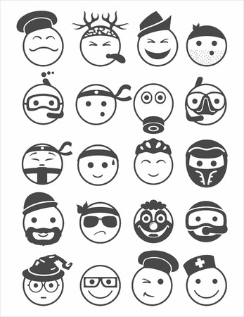 bespectacled man: 20 icons set profession smilies with different emotions black and white Illustration