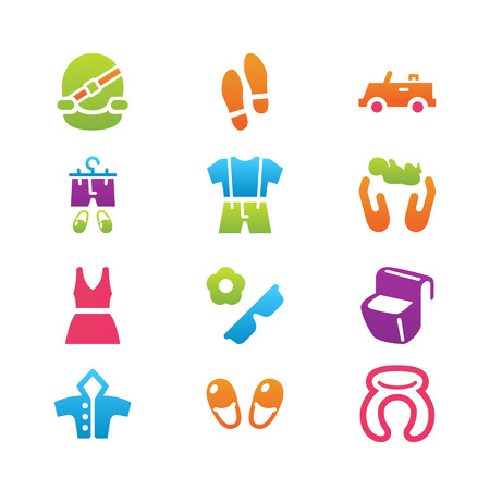 trip: Clothing and trip and home things icon set Illustration