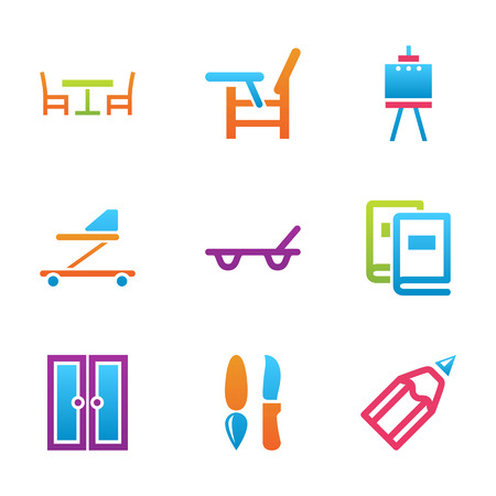 colour pencil: babys things and home stuff icon set