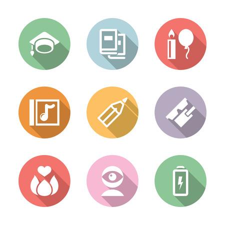 color in: Conjunto del icono de la educación y la ciencia en circul de color con la sombra Vectores