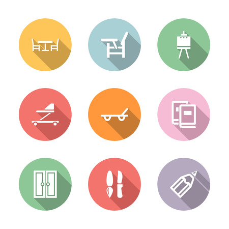 home stuff icon set in color circul with long shadow Illustration