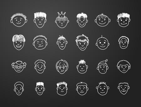 black boys: icon set 24  faces of boys in white on black background
