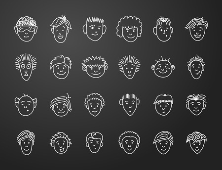 short: icon set 24  faces of boys in white on black background