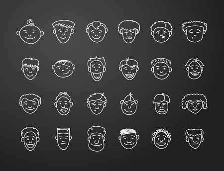 fearing: icon set 24 differents boys and mans faces in white on black background