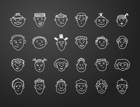 boy long hair: icon set 24  faces of boys and girls in white on black background