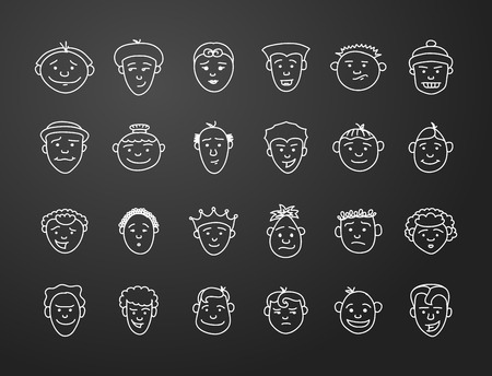 long straight hair: icon set 24 differents mans faces in white on black background Vectores