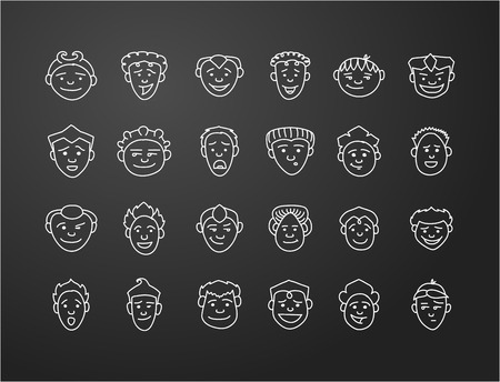long black hair: icon set 24 characters  faces of mans in white on black background