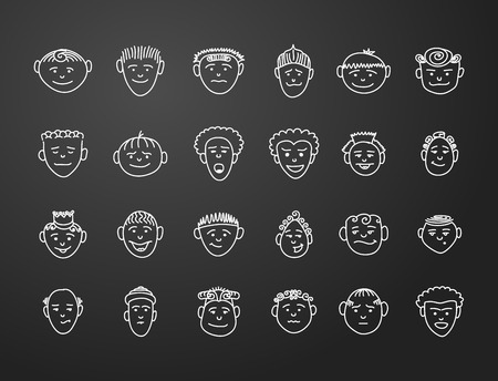 shaved head: icon set 24  faces of mans in white on black background Illustration