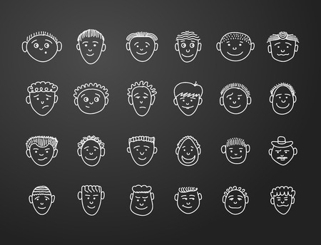 long black hair: icon set 24  faces of mans in white on black background Illustration