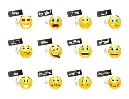 las emociones: Sonrisa emociones con placas Vectores