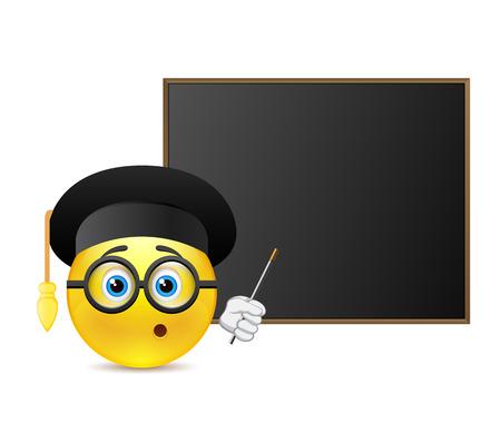 joke glasses: Smile student around blackboard Illustration
