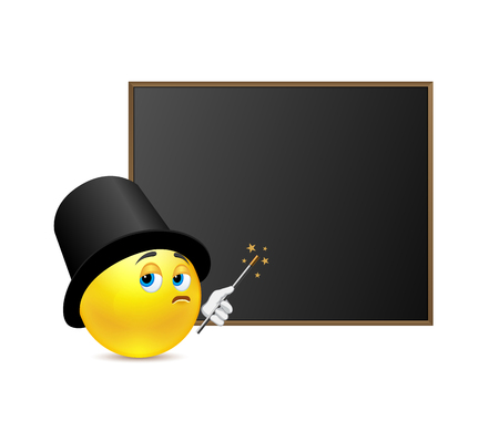 tightness: Funny teacher of magic around blackboard