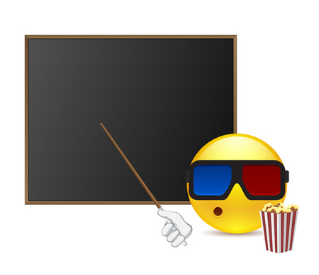 teacher cartoon: Funny student around blackboard with popcorn