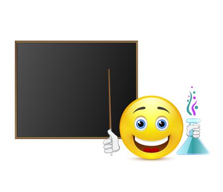 profesor alumno: Profesor Sonrisa de la química alrededor pizarra