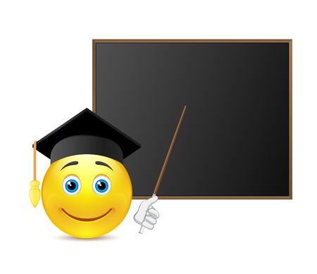 Smile with graduation cap around blackboard Illustration