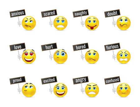 смайлик: Различные улыбки эмоции с пластинами
