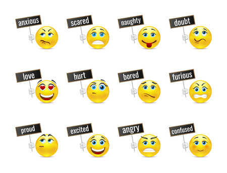boring: Different smiles emotions with plates