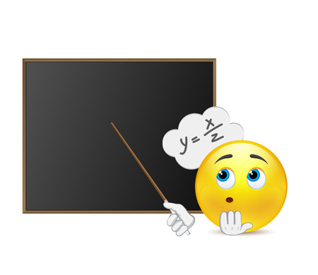 teacher and students: Funny teacher of mathematics around blackboard