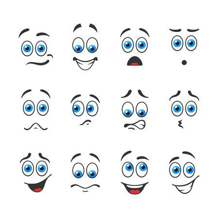 ojos azules: Diferentes emociones divertidas con los ojos azules Vectores