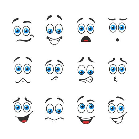 interesting: Different funny emotions with blue eyes Illustration