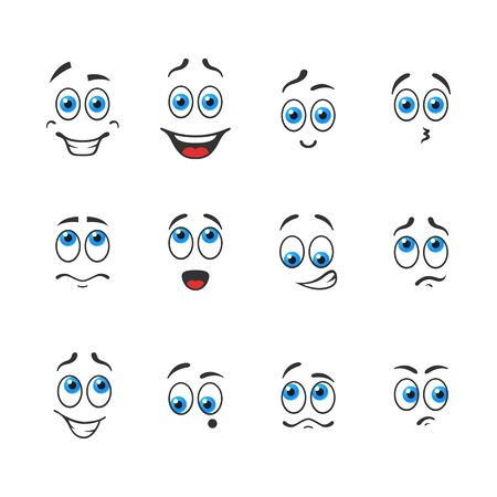 Different funny emotions with blue eyes Illustration